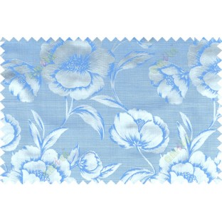 Blue grey color beautiful natural rose flower pattern polycotton main curtain designs