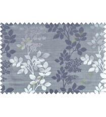 Black grey color natural floral with thick texture fab polycotton main curtain designs