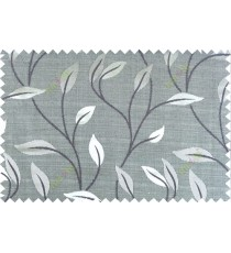 Black grey color elegant floral pattern with texture fab polycotton main curtain designs