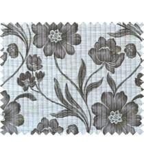 Black white grey colour natural floral design polycotton main curtain designs