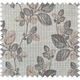 Brown beige beautiful floral design polycotton main curtain designs