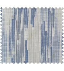 Blue beige grey color vertical pencil stripes polycotton main curtain designs