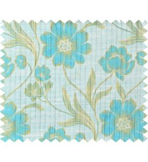 Aqua blue beige green colour natural floral design polycotton main curtain designs