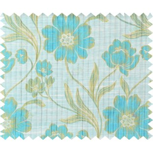 Aqua blue beige green colour natural floral design polycotton main curtain designs