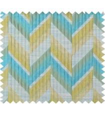 Auqa blue green beige colour herringbone pattern polycotton main curtain designs