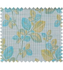 Aqua blue green beige beautiful floral design polycotton main curtain designs