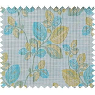 Aqua blue green beige beautiful floral design polycotton main curtain designs