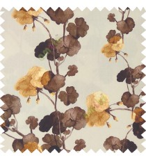 Dark brown gold beige color beautiful flower designs flower buds long twigs with floral pattern on pure cotton background curtain fabric