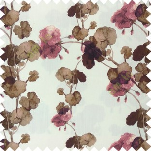 Brown purple white color beautiful flower designs flower buds long twigs with floral pattern on pure cotton background curtain fabric