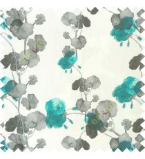 Blue White grey color beautiful flower designs flower buds long twigs with floral pattern on pure cotton background curtain fabric