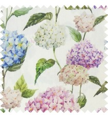 Green white purple blue color beautiful natural flower big size designs with leaf pattern on long stem watercolor print on pure cotton background curtain fabric