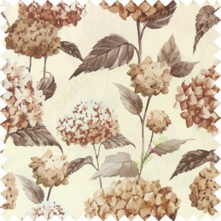 Brown beige grey color beautiful natural flower big size designs with leaf pattern on long stem watercolor print on pure cotton background curtain fabric