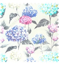 Purple grey blue beige pink color beautiful natural flower big size designs with leaf pattern on long stem watercolor print on pure cotton background curtain fabric