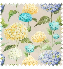 Blue green yellow brown color beautiful natural flower big size designs with leaf pattern on long stem watercolor print on pure cotton background curtain fabric