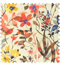 Orange brown yellow blue white color natural ferns flower beautiful leaf flower buds long twigs watercolor print on pure cotton background curtain fabric