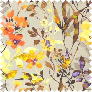 Orange grey brown purple yellow gold green color natural ferns flower beautiful leaf flower buds long twigs watercolor print on pure cotton background curtain fabric