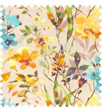 Blue orange green grey yellow gold color natural ferns flower beautiful leaf flower buds long twigs watercolor print on pure cotton background curtain fabric