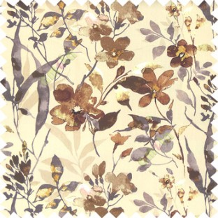 Brown beige grey color natural ferns flower beautiful leaf flower buds long twigs watercolor print on pure cotton background curtain fabric