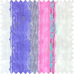 Blue pink blue beige color vertical colorful stripes textured straight colour painted watercolor print on pure cotton background curtain fabric