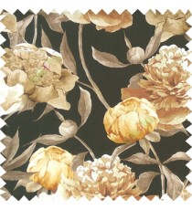 Black orange brown beige color beautiful big flower with long stem with leaf and flower buds on pure cotton background curtain fabric