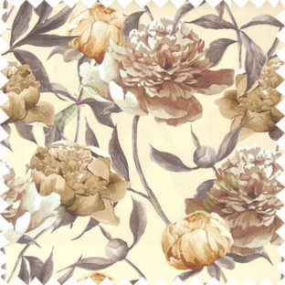 Brown grey beige white color beautiful big flower with long stem with leaf and flower buds on pure cotton background curtain fabric