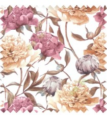 Purple beige brown orange color beautiful big flower with long stem with leaf and flower buds on pure cotton background curtain fabric