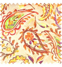 Brown yellow purple orange green beige color combination traditional paisley patterns with flower leaf texture finished on pure cotton curtain fabric