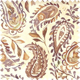 Dark brown beige green color combination traditional paisley patterns with flower leaf texture finished on pure cotton curtain fabric