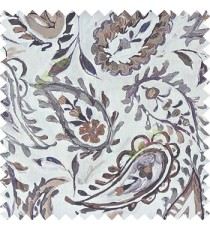 Grey brown purple white color combination traditional paisley patterns with flower leaf texture finished on pure cotton curtain fabric