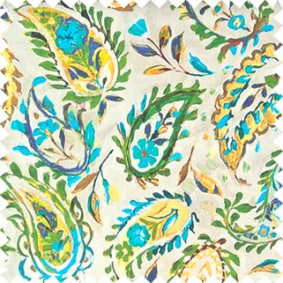 Green orange blue yellow brown color combination traditional paisley patterns with flower leaf texture finished on pure cotton curtain fabric