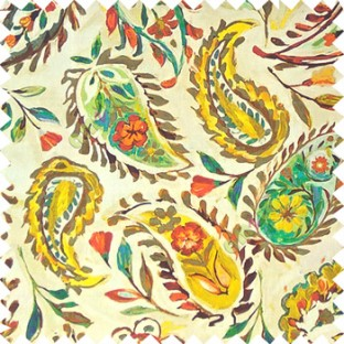 Yellow brown blue green beige red orange color combination traditional paisley patterns with flower leaf texture finished on pure cotton curtain fabric