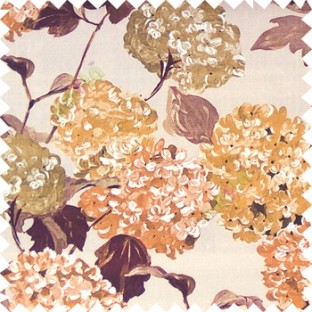 Dark brown beige orange color big bunch of small flowers pattern with supported long stem and hanging leaf designs watercolor print on pure cotton curtain fabric