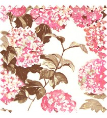 Pink purple grey beige color big bunch of small flowers pattern with supported long stem and hanging leaf designs watercolor print on pure cotton curtain fabric
