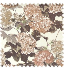 Brown beige grey color big bunch of small flowers pattern with supported long stem and hanging leaf designs watercolor print on pure cotton curtain fabric