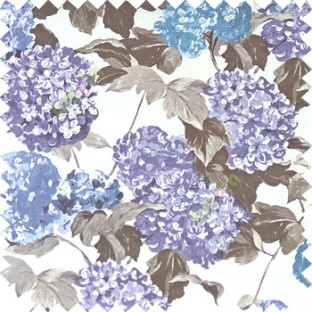 Blue grey purple black color big bunch of small flowers pattern with supported long stem and hanging leaf designs watercolor print on pure cotton curtain fabric