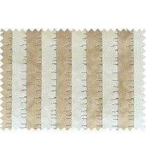 Beige brown colour vertical stripes with soft and thick poly sofa fabric - 113008