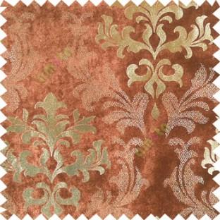 Brown gold damask design velvet finish nylon curtain fabric