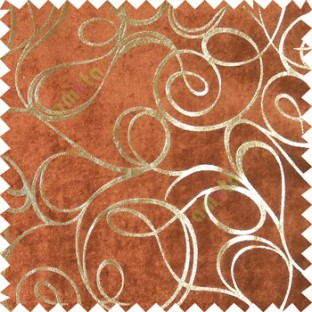 Brown gold abstract design velvet finish nylon curtain fabric