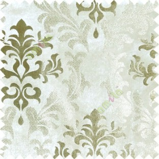 Ivory gold damask design velvet finish nylon curtain fabric