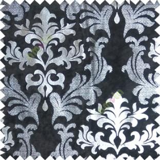 Black silver damask design velvet finish nylon curtain fabric