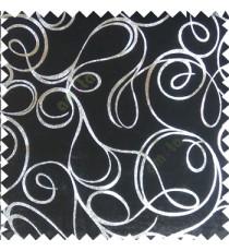 Black silver abstract design velvet finish nylon curtain fabric