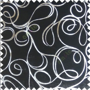 Black silver abstract design velvet finish nylon curtain fabric