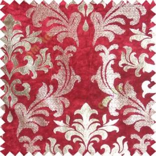 Red rich gold damask design velvet finish nylon curtain fabric