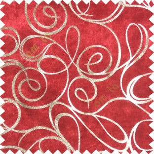 Red rich gold abstract design velvet finish nylon curtain fabric