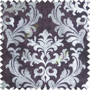 Purple silver damask design velvet finish nylon curtain fabric