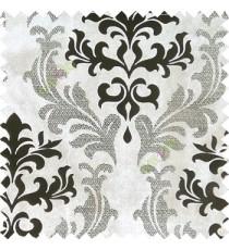 Ivory black damask design velvet finish nylon curtain fabric