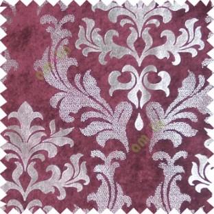 Pink silver damask design velvet finish nylon curtain fabric