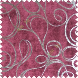 Pink silver abstract design velvet finish nylon curtain fabric