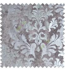 Grey silver damask design velvet finish nylon curtain fabric