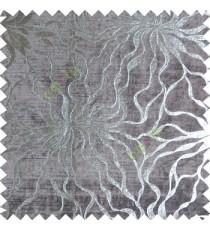 Grey silver abstract design velvet finish nylon curtain fabric